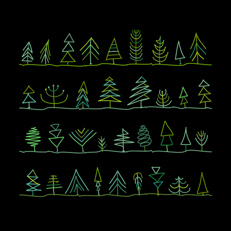 Abstract trees collection. Vector illustration. Banque d'images - 108052771