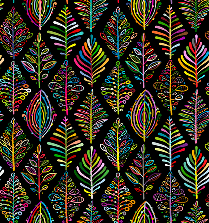 Abstract leaves background. Rhombus shape. Seamless pattern for your design. Vector illustration
