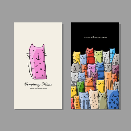 Business cards design, funny cats family. Vector illustration