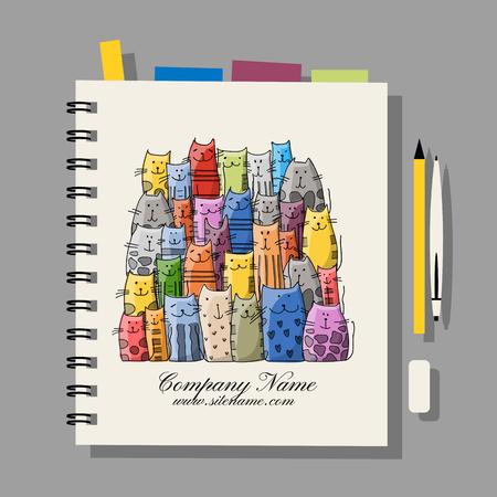 Notebook design, funny cats family. Vector illustration Illustration