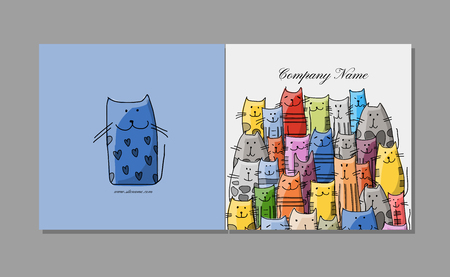 Greeting card design, funny cats family. Vector illustration