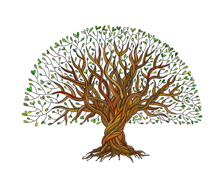 Big tree with roots for your design. Vector illustration Vettoriali