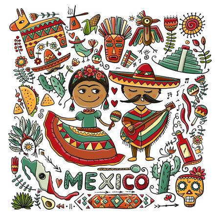 Reis naar Mexico. Schets voor uw ontwerp