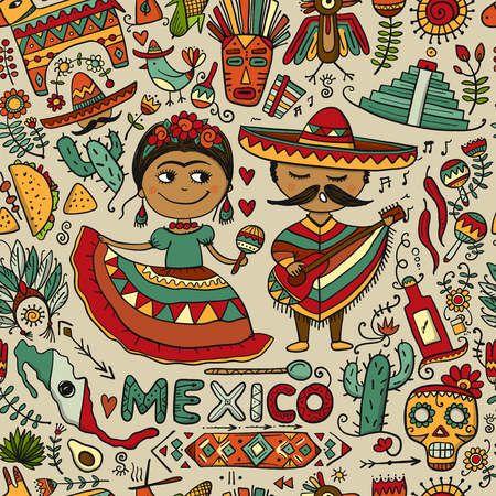 Travel to Mexico. Seamless pattern for your design Archivio Fotografico - 108094232