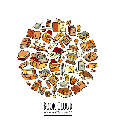 Books collection, sketch for your design. Vector illustration