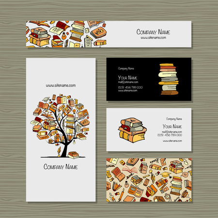 Books library, business cards design. Vector illustration