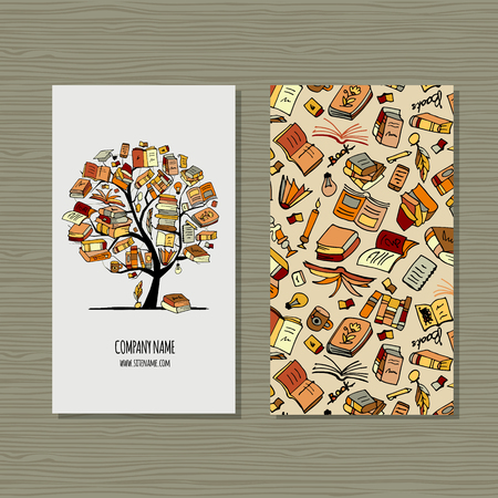 Books library, business card design. Vector illustration Illustration