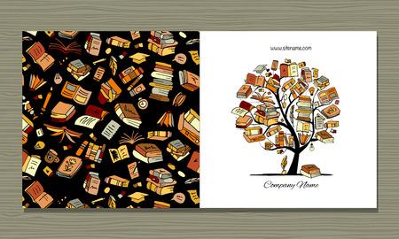 Bibliothèque de livres, conception de cartes de voeux. Illustration vectorielle Vecteurs