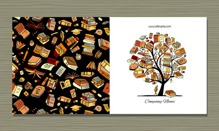 Books library, greeting card design. Vector illustration