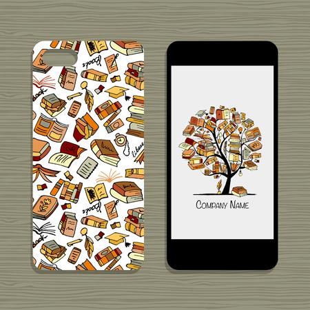 Mobile phone design, floral background. Vector illustration Illustration