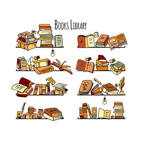 Book shelves, sketch for your design. Vector illustration