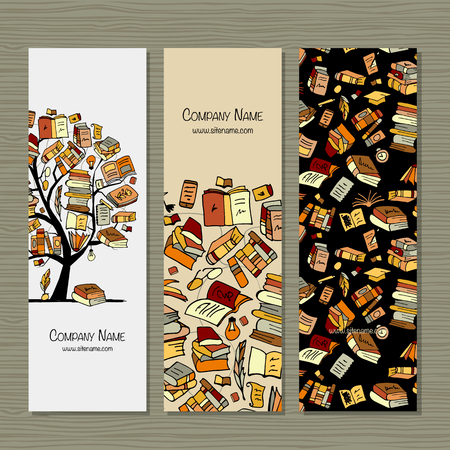 Books library, banners design. Vector illustration