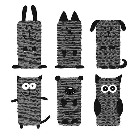 Knitting funny animals, sketch for your design. Vector illustration Illustration