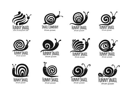 Escargot drôle, silhouette noire pour votre conception