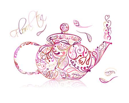 Croquis de théière avec thé floral pour votre conception