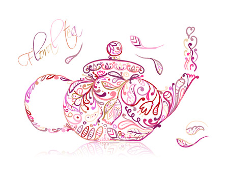 Theepot schets met bloementhee voor uw ontwerp