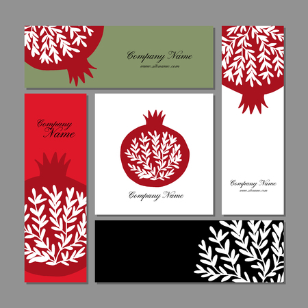 Business cards design, pomegranate background. Vector illustration Illustration