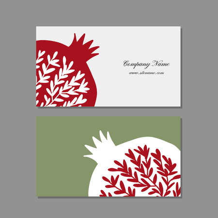 Business cards design, pomegranate background. Vector illustration 向量圖像