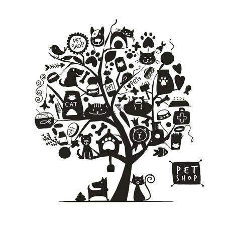 Pet shop, art tree for your design