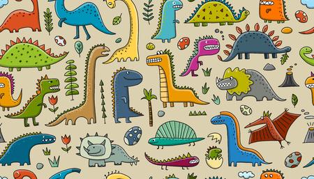 Dinosaurios divertidos, estilo infantil. Patrones sin fisuras para su diseño. Ilustración vectorial Ilustración de vector