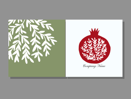 Greeting cards design, pomegranate background. Vector illustration