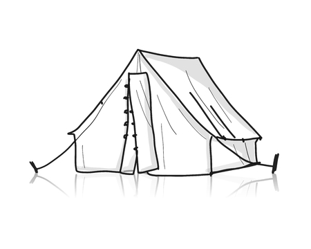Camping tent for tourism, sketch for your design. Vector illustration
