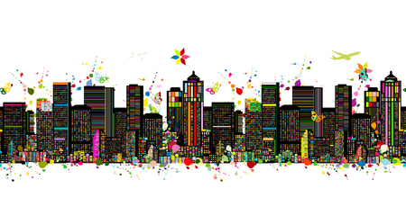 Colorful metropolis, seamless pattern for your design. Vector illustration Stock Vector - 110076871