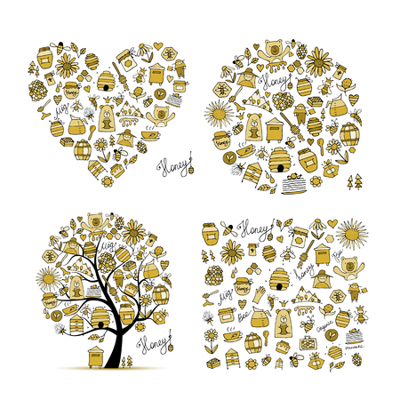 Honey set - frame, tree, heart. Sketch for your design