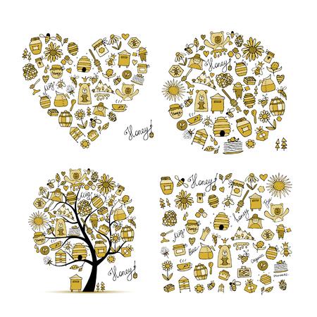 Ensemble de miel - cadre, arbre, coeur. Croquis pour votre conception
