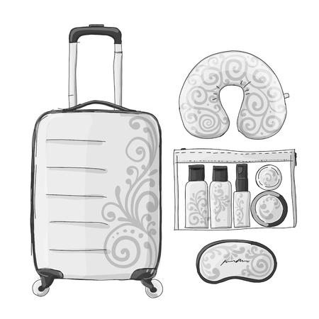 Travel set mockup, sketch for your design. Vector illustration