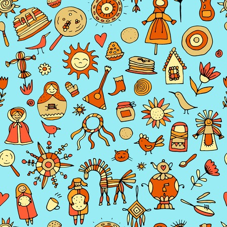 Maslenitsa or Shrovetide. Seamless pattern for your design. Vector illustration