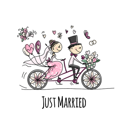 Wedding card design. Bride and groom riding on bicycle Foto de archivo - 108223991