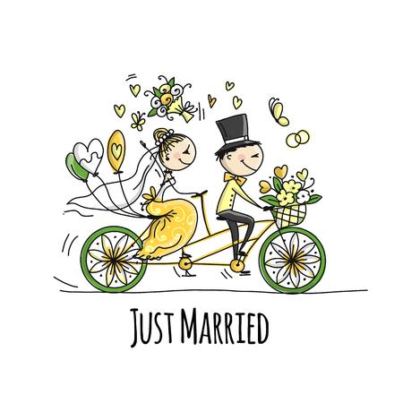 Wedding card design. Bride and groom riding on bicycle. Vector illustration Ilustração Vetorial