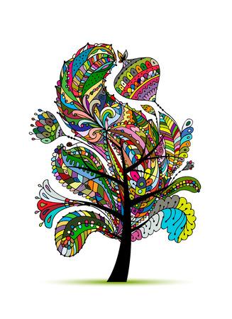 Árbol mágico floral, boceto de su diseño