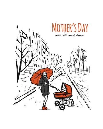 Madre con stoller caminando en el parque de la ciudad, boceto de su diseño. Ilustración vectorial