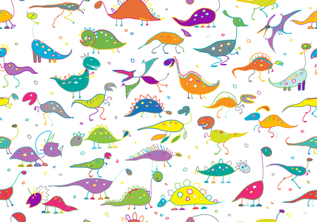Funny dinosaurs, childish style. Seamless pattern for your design. Vector illustration 矢量图像