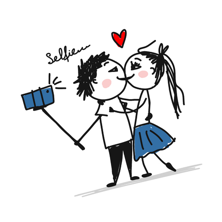 Couple in love do photos with mobile smart phone device using selfie. Vector illustration Stock Vector - 110076885