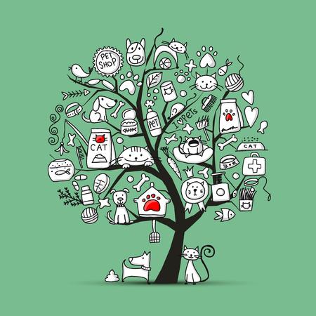 Animalerie, arbre d'art pour votre conception Vecteurs