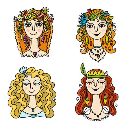 Four season girls, sketch for your design. Vector illustration