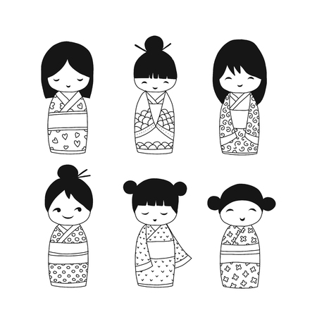 Japanese dolls collection, sketch for your design. Vector illustration