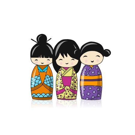 Japanese dolls, sketch for your design. Vector illustration