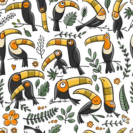 Tucanes, ave tropical paradisíaca. Patrones sin fisuras para su diseño. Ilustración vectorial