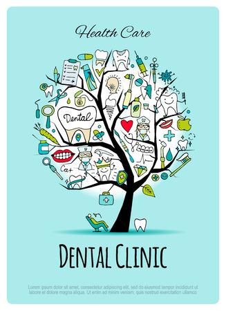 Dental clinic tree, sketch for your design Illustration
