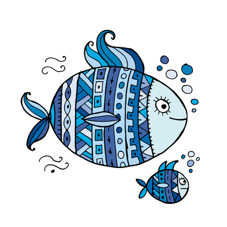 Ornate fish for your design Illustration