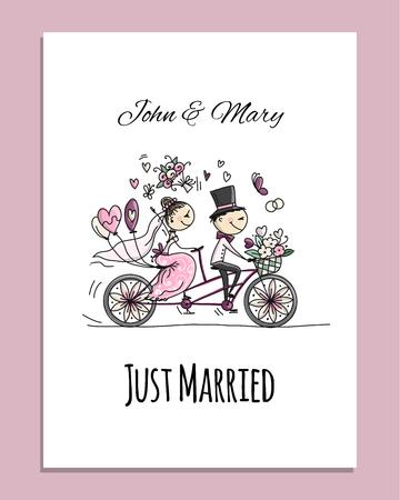 Bruiloft kaart ontwerp. Bruid en bruidegom rijden op de fiets Vector Illustratie