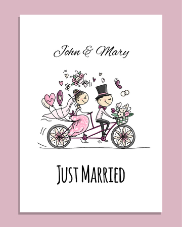 Wedding card design. Bride and groom riding on bicycle Banque d'images - 109397484