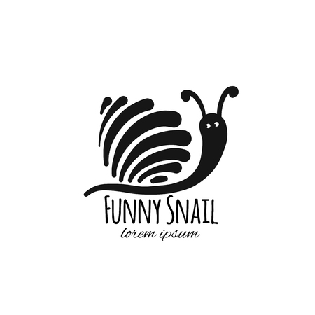 Funny snail, black silhouette for your design