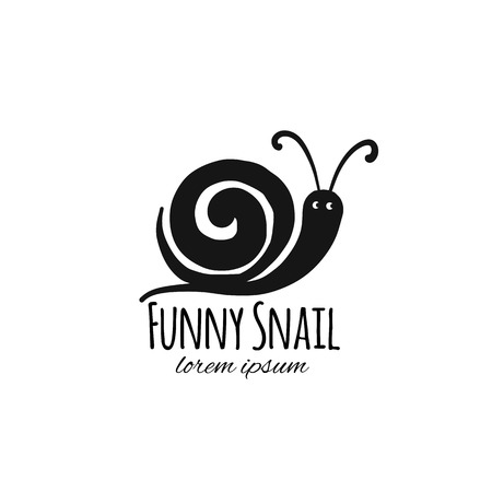 Funny snail, black silhouette for your design Reklamní fotografie - 109468924
