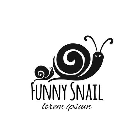 Śmieszny ślimak, czarna sylwetka do swojego projektu Ilustracje wektorowe