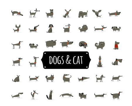 Cute dogs collection for your design Illustration
